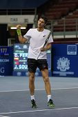 KUALA LUMPUR - SEPTEMBER 27: Joao Sousa reacts after winning his quarter-final match against David F