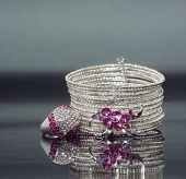 Silver Bracelet With Pink Crystal Stones And Ring.