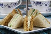 English cream cheese and cucumber sandwiches