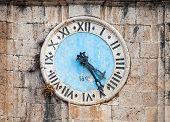 Ancient Clock Tower Of Central Saint Nicholas Church, Perast Town, Montenegro