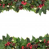 Christmas floral background border with holly, ivy, mistletoe, pine cones and winter greenery over w