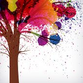 abstract background, tree with branches made of watercolor drops.