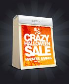 Crazy halloween sale design in form of tear-off calendar. Eps10
