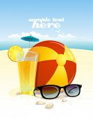 Beach background with sun glasses, beach ball and fruit cocktail with place for text. Eps10