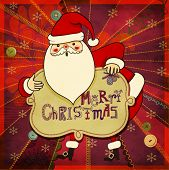 Christmas Greeting - Hand drawn illustration of cute Santa Clause wishing you a Merry Christmas, against colorful patchwork backdrop, with stitches and sewing buttons