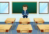 Illustration of a teacher inside the room