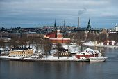 picture of brig  - The Brig Tre Kronor af Stockholm at her winter quarter Kastellholmen Stockholm - JPG