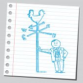 Businessman with weather vane