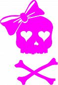 Girl Skull with Hair Bow and Cross Bones