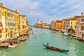 picture of gondolier  - Gondola on Grand Canal in Venice - JPG