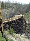foto of trestle bridge  - Rebuilt trestle number 8 of the Myra Canyon Kettle Valley Rail Trestles - JPG