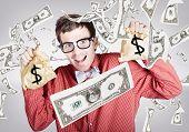 Happy Accountant Man with Raining Money