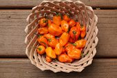 ceramic basket with habanero peppers