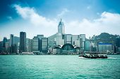 Hongkong Skyline With Ferryboat