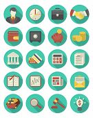 picture of coin bank  - Set of 20 modern flat stylized icons suitable for financial and business themes - JPG