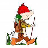 A cartoon hiker rambler