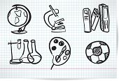 set of elements on education in the style sketch