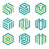 Set of nine abstract hexagon shaped vector symbols