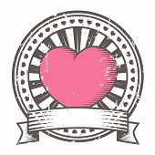 Grunge rubber stamp with heart. Valentine's Day