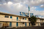 LAS VEGAS - APRIL 17: The Blue Angel Motel was once in the thriving centre of downtown Las Vegas but is now left to ruin as development has moved to the Strip. On April 17 2013 in Las Vegas USA