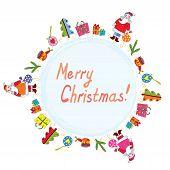Christmas card with santa, tree and presents