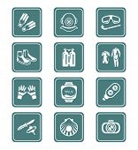 Scuba diving clothing, gear and tools teal icon-set