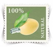 Label For Various Natural Products Ads Stylized As Post Stamp