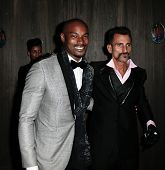 NEW YORK-SEP 28: Model Tyson Beckford (l) and actor Wass Stevens attend the grand opening of TAO Downtown at the Maritime Hotel on September 28, 2013 in New York City.
