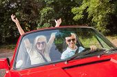 Mature couple in red cabriolet on sunny day cheering at camera