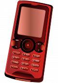 stock photo of mobile-phone  - High detailed vector illustration a red colored cell  - JPG