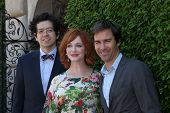 LOS ANGELES - SEP 29:  Geoffrey Arend, Christina Hendricks, Eric McCormack at the Rape Foundation An