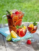 stock photo of sangria  - Refreshing fruit sangria  - JPG