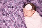 Beautiful newborn baby girl sleeping