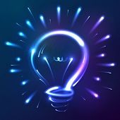 pic of fluorescent light  - Bright blue neon lights vector abstract bulb - JPG