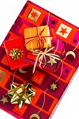 image of superimpose  - several parcels of gifts for christmas are superimposed - JPG