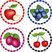 Apples, Blueberries, Cherries, Plums Label Tags