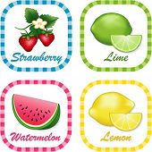 Strawberries, Watermelon, Limes, Lemons Label Tags