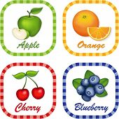 Green Apple, Orange, Cherry, Blueberry Label Tags