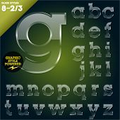 Vector illustration of Glass font powered graphic styles. Set 8-2