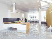 image of flood  - flooding kitchen modern interior  - JPG