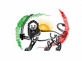 stock photo of iranian  - Iranian old flag or Iranian Lion flag - JPG