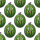 Happy green watermelon seamless pattern