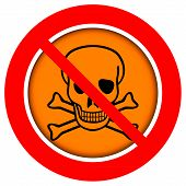 image of chemical weapon  - No chemical weapons sign on white background - JPG