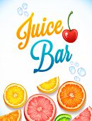 illustration juice bar. citrus fruits, water drops