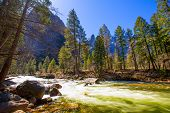 Yosemite National Park Merced River in spring California USA