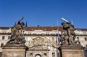 Statue On Entrance To Prague Castle