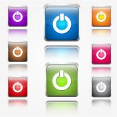Power Sign Round Corner Vector Web Icon Button Set