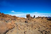 Couple on the top of Teide volcano, Tenerife island