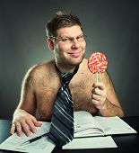 Shirtless businessman