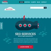 Flat Design Vector Website Template Of Seo Website Searching Optimization With Cartoon Submarine